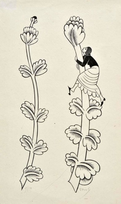 Woman climbing floriated Phallus (cut for The Canterbury Tales)