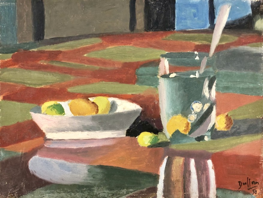 Jacques André Duffour, STILL LIFE WITH TABLE CLOTH, FRUIT AND GLASS, 1951