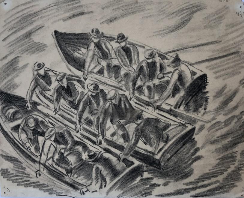 Ethelbert White, Men in Rowing Boats, c. 1914