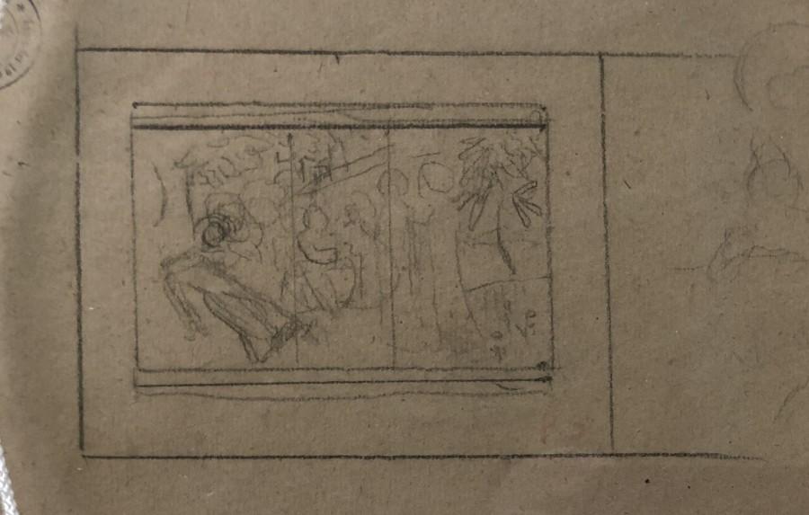 Paul Sérusier, Study for PAYSAGE DE CHÂTEAUNEUF-DU-FAOU - verso -Study for 'La Légende de Sainte Triphine', 1906