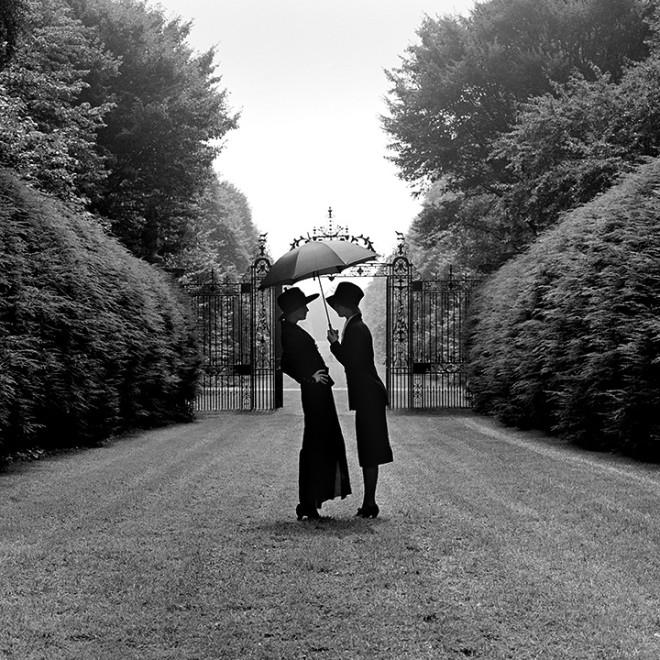 Two Women Under Umbrella, Long Island, NY