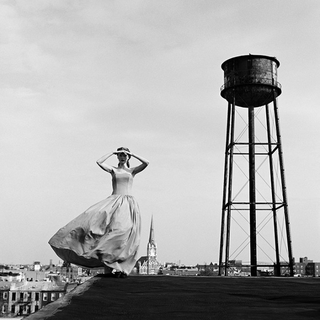 Victoria Standing on Roof near Water Tower, Brooklyn, New York