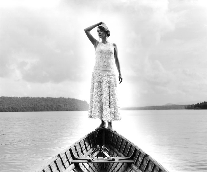 Marina Standing on Edge of Canoe, Lake Placid, New York