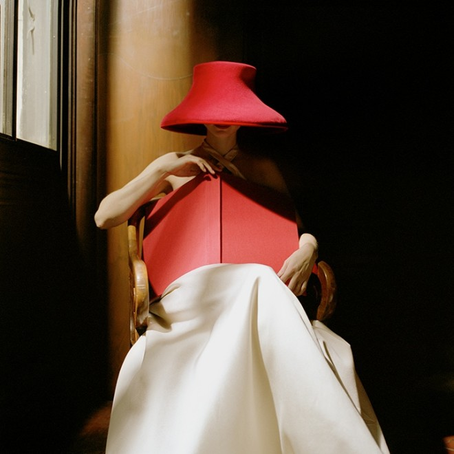 Bernadette in Red Hat with Book, New York Public Library, NYC