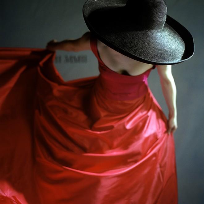 Bernadette Bowing in Red Dress, Snedens Landing, New York