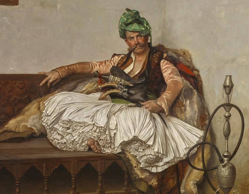 A BASHI-BAZOUK CHIEFTAN (also AN ALBANIAN SMOKING)