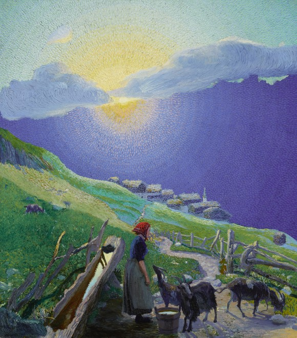 Waldemar Fink  Shepherdess with Flock in the Alps at Sunrise