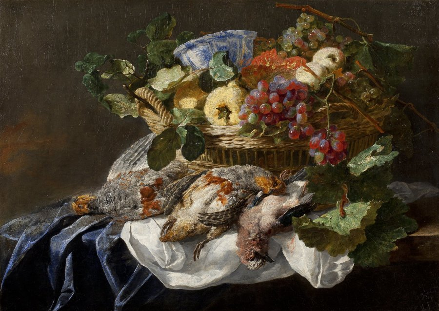Still Life with Fruit, Birds, and a Wanli Kraak Porcelain Bowl
