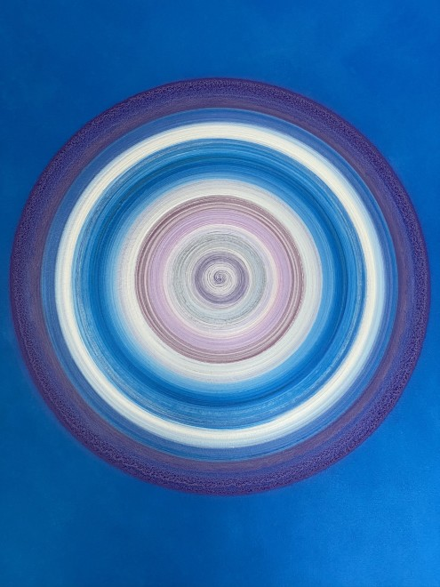 Lisa Sharpe Paintings, Blues, Pink, Purple & Silver Portal (unframed)