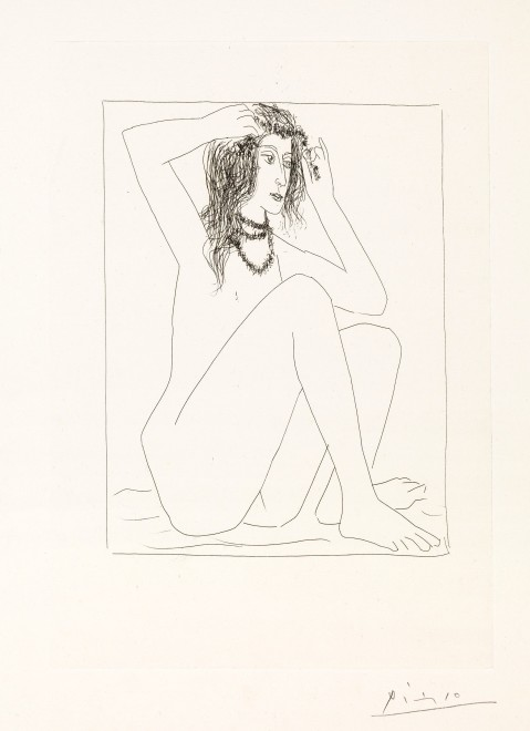 <p><strong>Pablo Picasso</strong>,&#160;<em>Female Nude Crowning Herself with Flowers / Femme Nue Se Couronnant De Fleurs,&#160;from La Suite Vollard</em>, 1930</p>