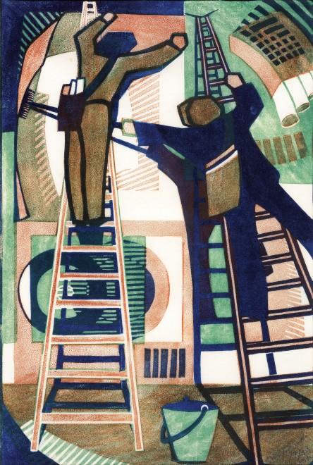 "<span class=""artist""><strong>Lill Tschudi</strong></span>, <span class=""title""><em>Sticking up Posters</em>, 1933</span>"