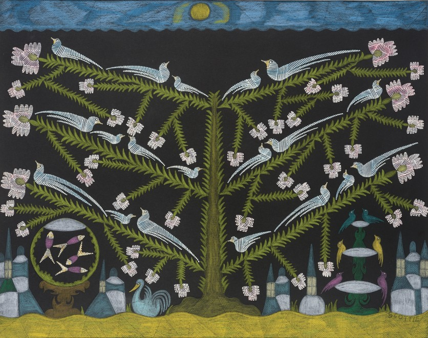 <span class=&#34;artist&#34;><strong>Scottie Wilson</strong></span>, <span class=&#34;title&#34;><em>Untitled (Bird Tree)</em>, c.1960</span>