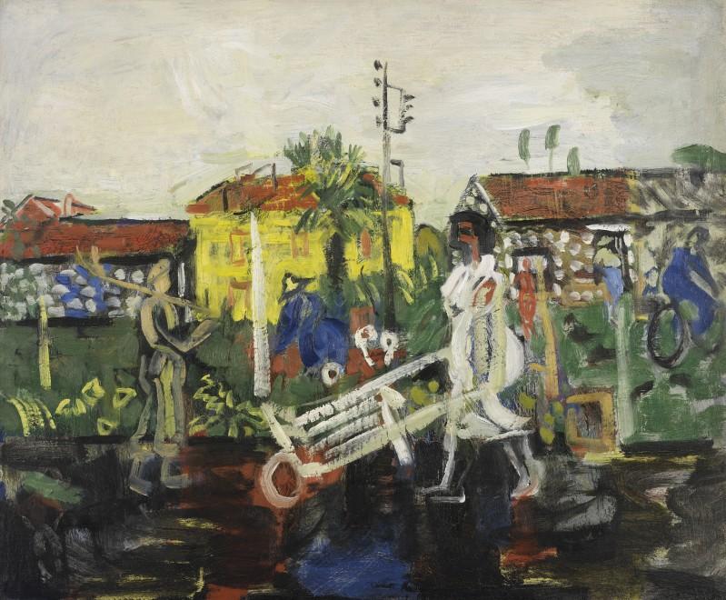 Woman with Wheelbarrow and Cyclist