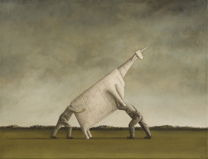 Two Men Lifting a Cow I