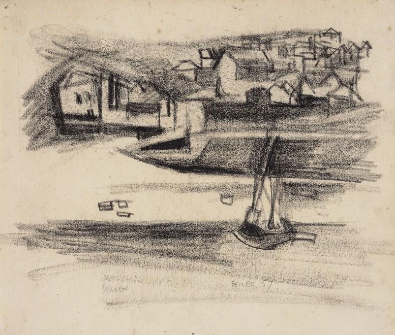 """<span class=""""artist""""><strong>Paul Feiler</strong></span>, <span class=""""title""""><em>Sennen</em>, 1957</span>"""