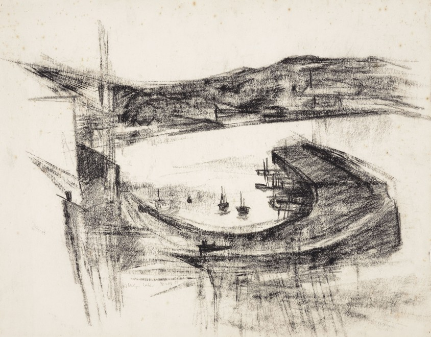 "<span class=""artist""><strong>Paul Feiler</strong></span>, <span class=""title""><em>Newlyn Harbour </em>, 1959</span>"