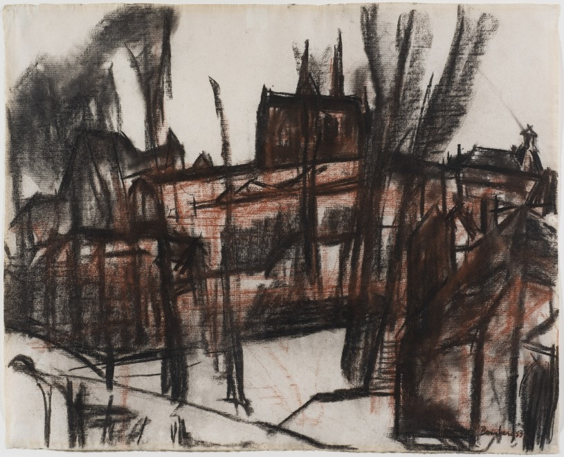 """<span class=""""artist""""><strong>David Bomberg</strong></span>, <span class=""""title""""><em>Chartres Cathedral, Side Facade</em>, 1953</span>"""
