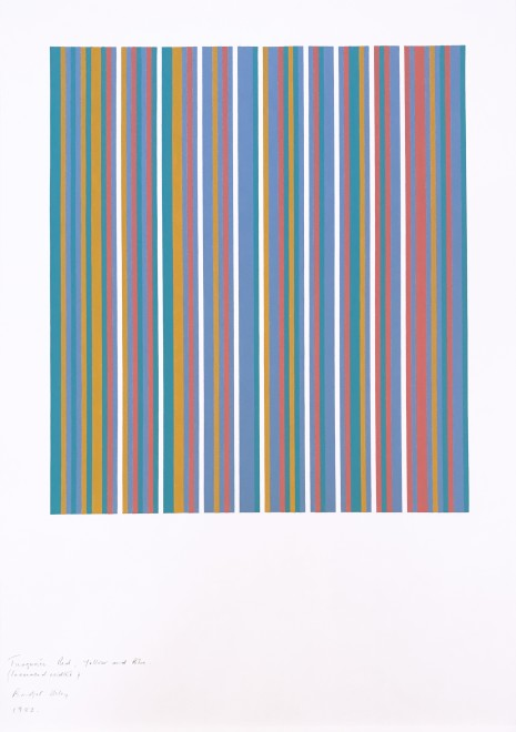 "<span class=""artist""><strong>Bridget Riley</strong></span>, <span class=""title""><em>Turquoise, Red, Yellow and Blue (increased width)</em>, 1982</span>"