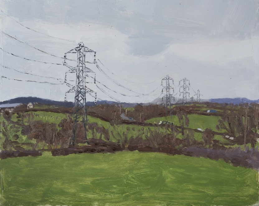 "<span class=""artist""><strong>Danny Markey</strong></span>, <span class=""title""><em>Pylons on the Edge of a Town </em>, 2019</span>"
