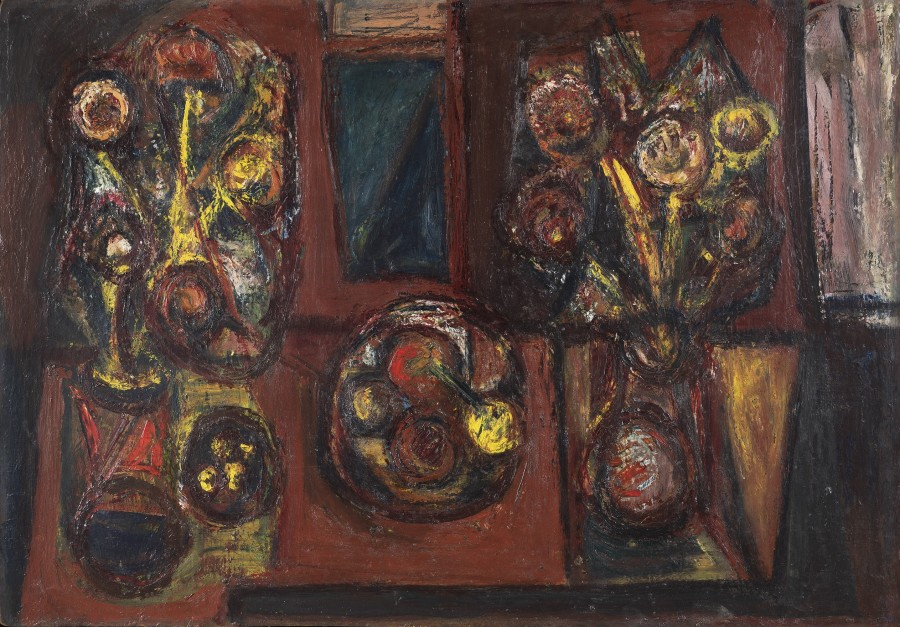 """<span class=""""artist""""><strong>Alan Davie</strong></span>, <span class=""""title""""><em>Two Vases and a Bowl of Fruit</em>, 1943-1945</span>"""