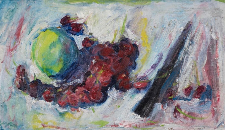 """<span class=""""artist""""><strong>Adrian Ryan</strong></span>, <span class=""""title""""><em>Apple and Cherries with a Knife</em>, c.1960</span>"""