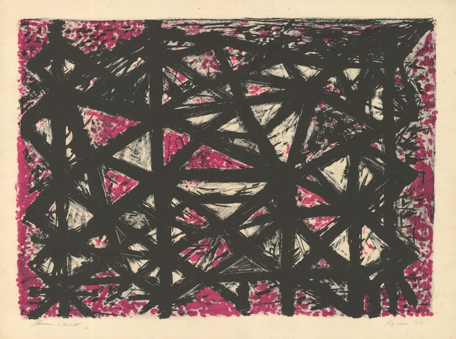 <span class=&#34;artist&#34;><strong>William Gear RA</strong></span>, <span class=&#34;title&#34;><em>Structure, Black and Purple </em>, 1949</span>