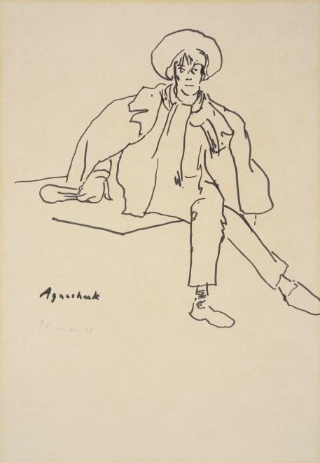 """<p><span class=""""artist""""><strong>Patrick Procktor RA,</strong></span><span class=""""title""""><em>Aguecheek</em>, 1968</span></p>"""