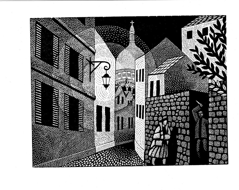 Harry Brockway RE, Montmartre (illustration for 'Maigret Sets a Trap' by George Simenon Folio Society 2019)
