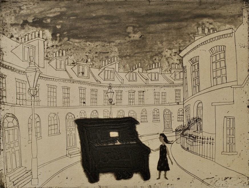 Mychael Barratt PPRE Hon RWS, Urban Myths IV - Street Piano in Keystone Crescent