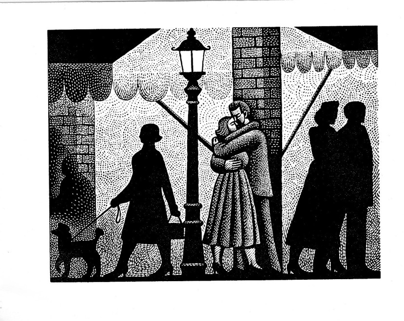 Harry Brockway RE, Street Scene (Illustration for 'Maigret Sets a Trap' by George Simenon Folio Society 2019)