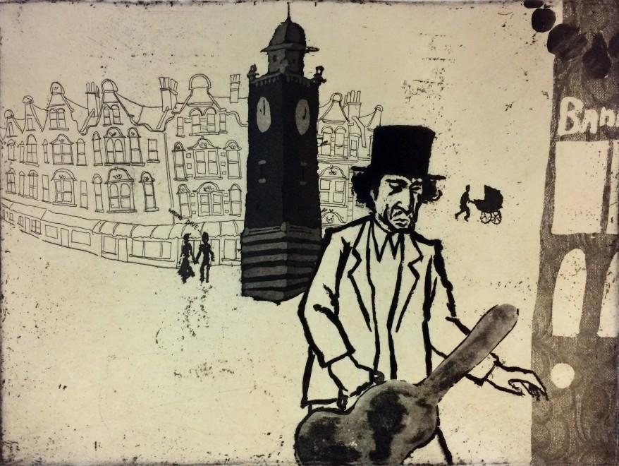 Mychael Barratt PPRE Hon RWS, Urban Myths IX - Bob Dylan lost in Crouch End