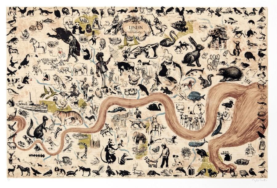 Mychael Barratt PPRE Hon RWS, A London Bestiary - Map of London's Animals