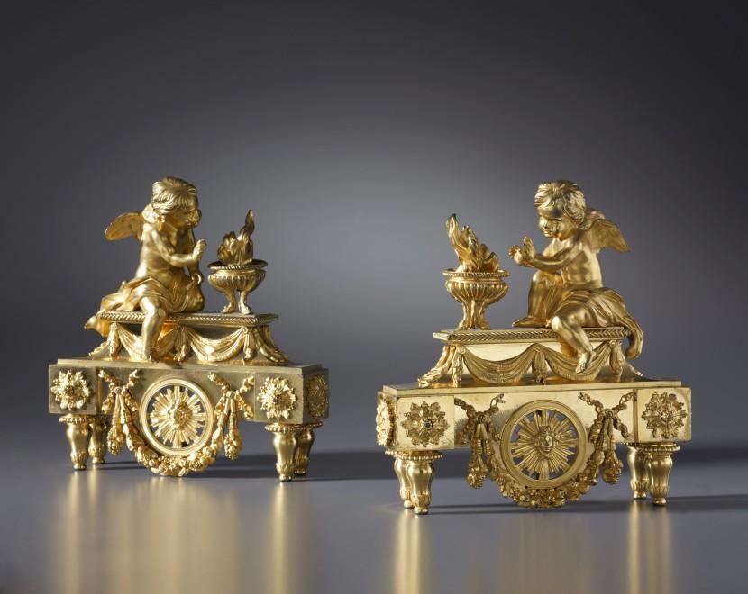 A pair of Louis XVI chenets