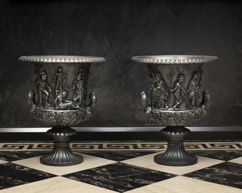 A pair of English garden urns