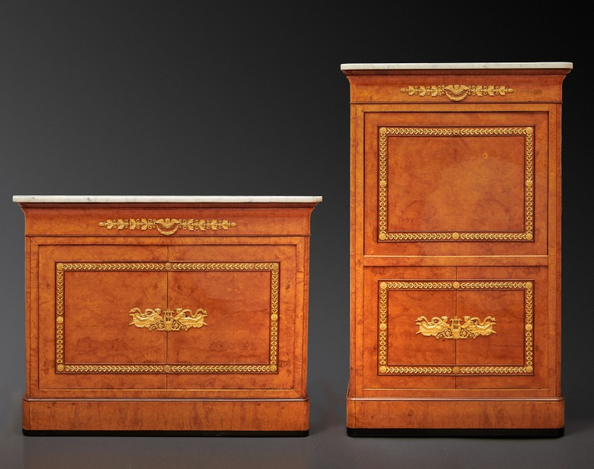 An Empire secrétaire à abattant and matching commode attributed to Jacob-Desmalter et Cie