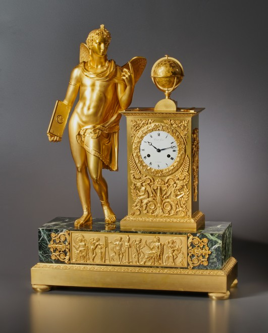 An Empire figural clock, by Picnot Père
