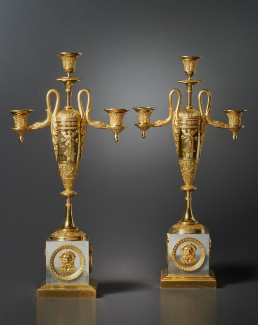 A pair of Empire three-light candelabra attributed to Claude Galle