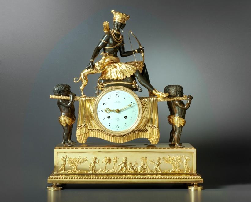 An Empire Pendule 'Au Sauvage' by Jean-Simon Deverberie, movement by Le Roy