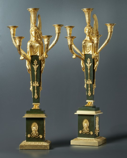 A pair of Empire five-light candelabra