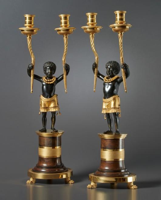 A pair of Directoire candelabra %22Au Jeune Nègre%22 by Jean-Simon Deverberie
