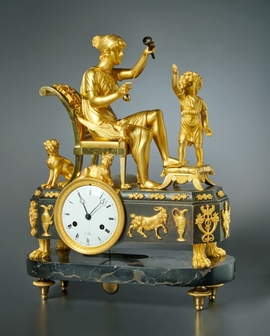 An Empire clock of eight day duration