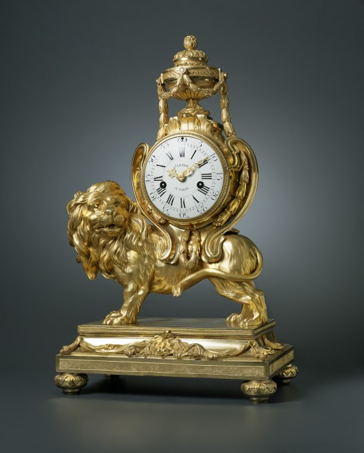 A Louis XVI pendule 'au lion' of eight day duration by Pierre III Le Roy, housed in a case attributed to François Vion
