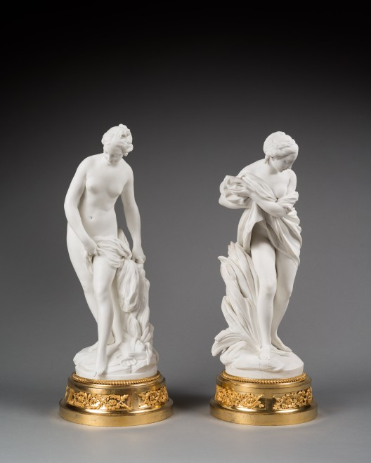A pair of Louis XVI figures depicting 'Baigneuse' and 'Baigneuse aux Roseau'