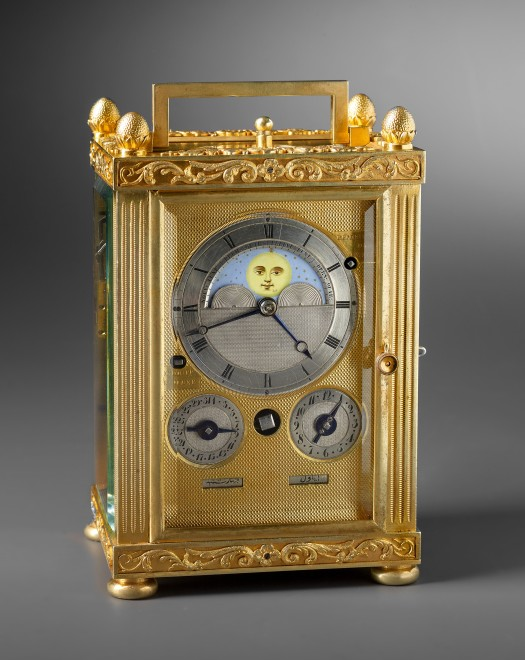 A carriage clock with grande and petite sonnerie, moon dial and calendar work by Charles Frédéric Klentschi