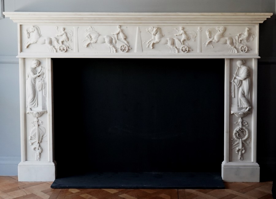 An early 19th Century Italian marble fireplace made for the Irish market