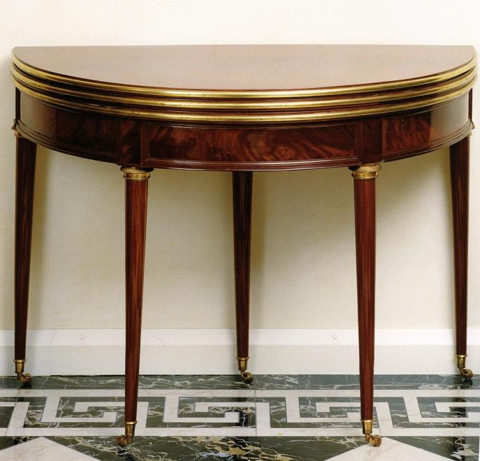 A Louis XVI Cuban demi-lune card and tea table