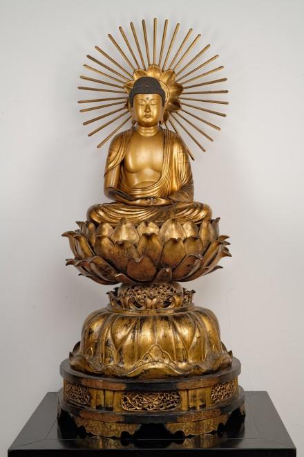 A Japanese Edo period sculpture of Amida Buddha