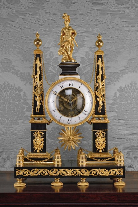 A Louis XVI mantle clock of eight day duration, signed on the white enamel dial Cornu à Paris