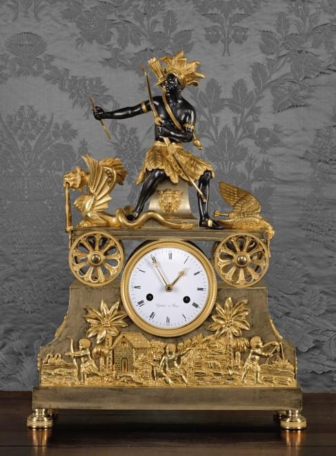A Directoire Pendule 'Au Chasseur Améridien', by Gautier
