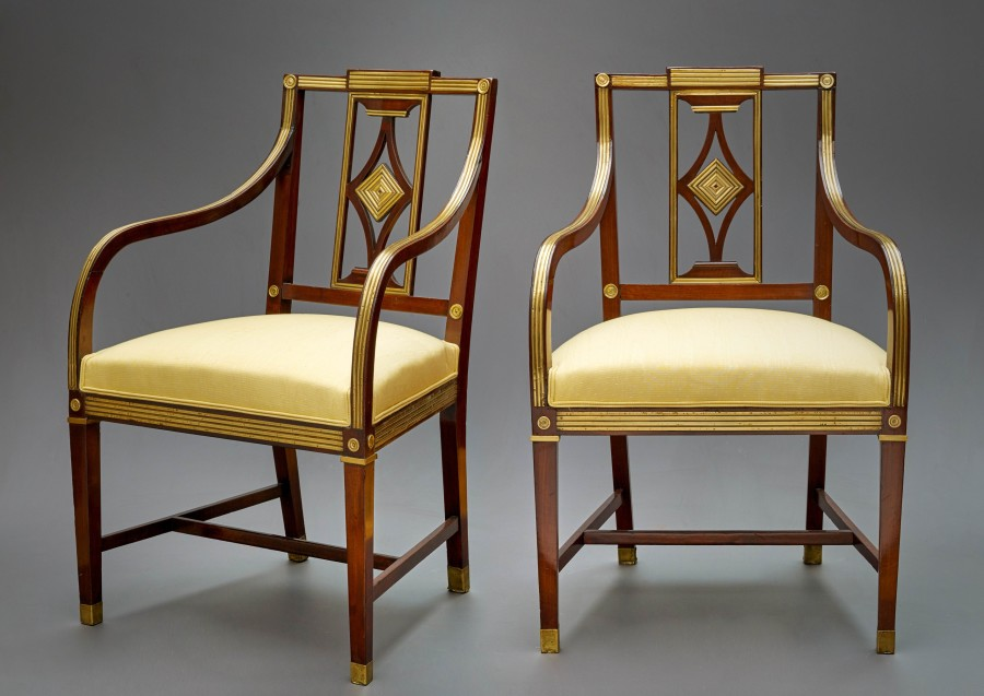 A pair of Louis XVI period Russian pair of Fauteuils